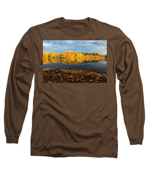 Autumn Morning Reflection On Lake Pentucket Long Sleeve T-Shirt by Betty Denise