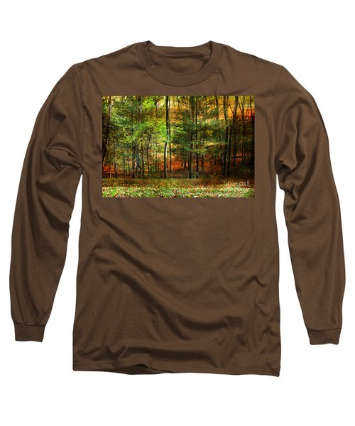 Autumn Sunset - In The Woods Long Sleeve T-Shirt by Judy Palkimas
