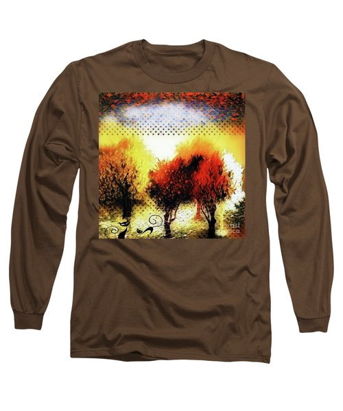 Autumn With Cat Focus Long Sleeve T-Shirt