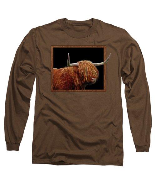 Bad Hair Day - Highland Cow - On Black Long Sleeve T-Shirt by Gill Billington