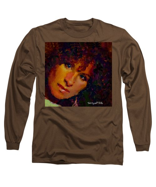 Long Sleeve T-Shirt featuring the painting Barbra Streisand by Ted Azriel