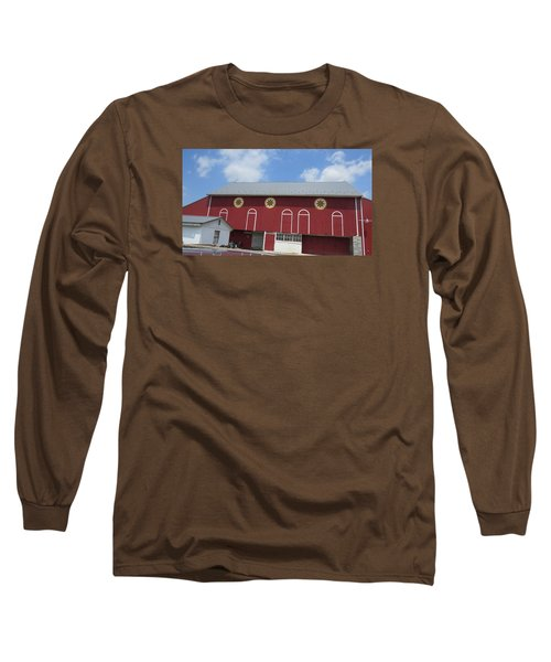 Barn With Hex Signs Long Sleeve T-Shirt by Jeanette Oberholtzer