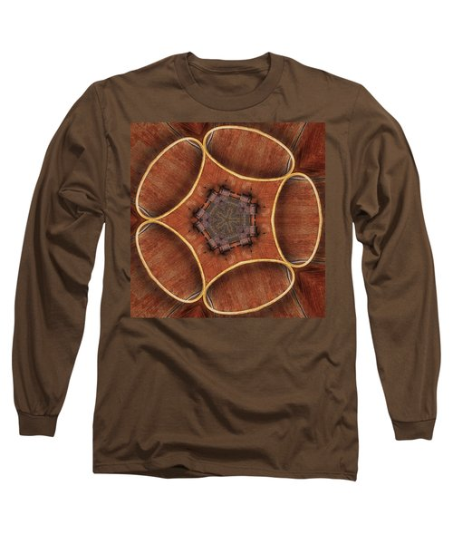 Barn Wood Kaleidoscope1 Square Long Sleeve T-Shirt