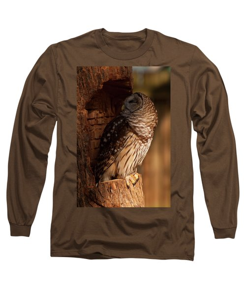 Barred Owl Sleeping In A Tree Long Sleeve T-Shirt by Chris Flees