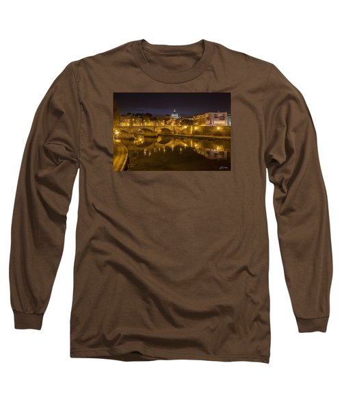 Basilica Over The River Tiber Long Sleeve T-Shirt by Ed Cilley