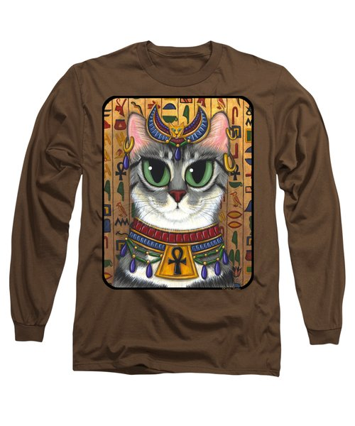 Long Sleeve T-Shirt featuring the painting Bast Goddess - Egyptian Bastet by Carrie Hawks