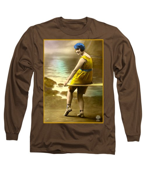 Bathing Beauty In Yellow  Bathing Suit Long Sleeve T-Shirt