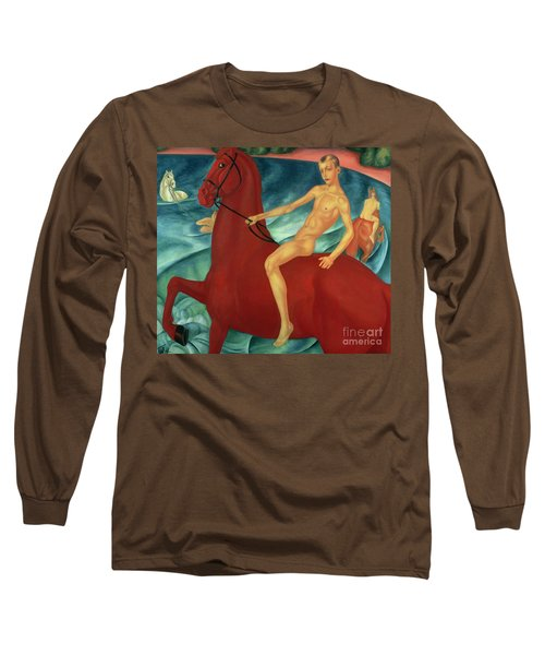 Bathing Of The Red Horse Long Sleeve T-Shirt by Kuzma Sergeevich Petrov-Vodkin