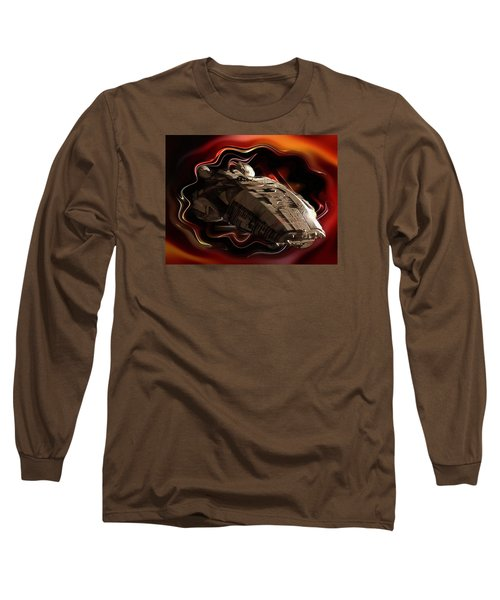 Long Sleeve T-Shirt featuring the digital art Battlestar Galactica Emerges From The Stargate by Mario Carini