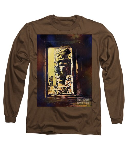 Long Sleeve T-Shirt featuring the painting Bayon IIi- Cambodian Ruins, Angkor Wat by Ryan Fox