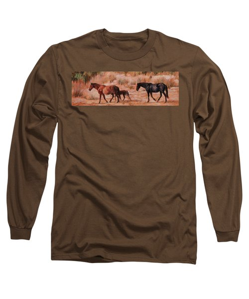 Beach Ponies - Wild Horses In The Dunes Long Sleeve T-Shirt by Bonnie Mason
