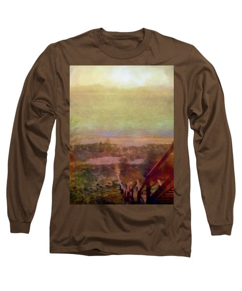 Long Sleeve T-Shirt featuring the digital art Beach Stairs With Hazy Sky by Michelle Calkins