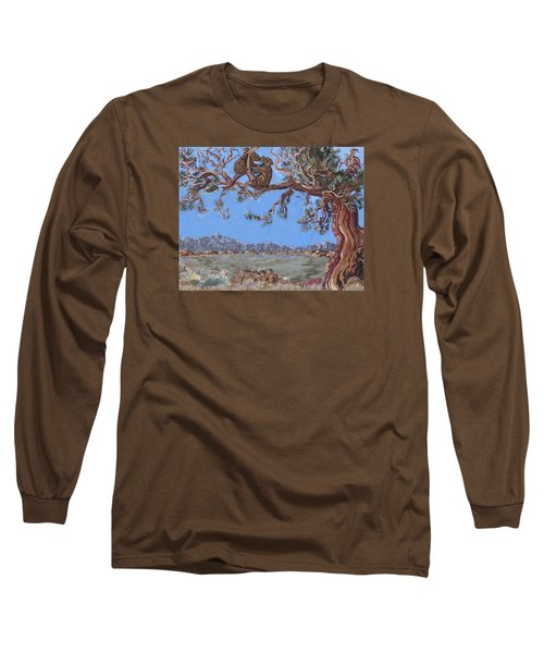 Long Sleeve T-Shirt featuring the painting Bear Cubs In Cedar by Dawn Senior-Trask