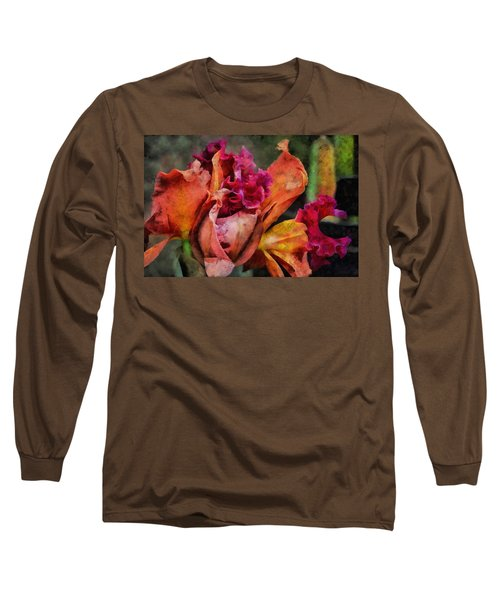 Long Sleeve T-Shirt featuring the mixed media Beauty Of An Orchid by Trish Tritz