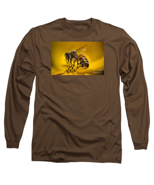 Bee Enjoys Collecting Pollen From Yellow Coreopsis Long Sleeve T-Shirt
