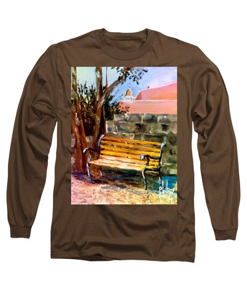 Long Sleeve T-Shirt featuring the painting Bench At Waterfront Park by Jim Phillips