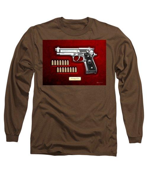 Beretta 92fs Inox Over Red Velvet Long Sleeve T-Shirt