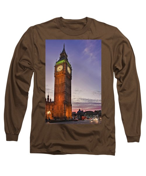 Long Sleeve T-Shirt featuring the photograph Big Ben Twilight In London by Terri Waters