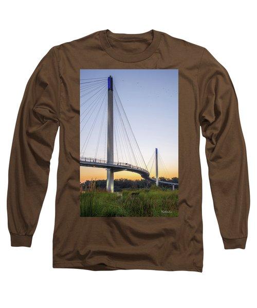 Birds Soaring Over Bob Kerry Bridge Long Sleeve T-Shirt