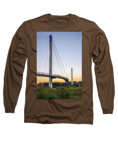 Birds Soaring Over Bob Kerry Bridge Long Sleeve T-Shirt