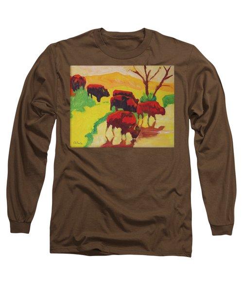 Bison Art Bison Crossing Stream Yellow Hill Painting Bertram Poole Long Sleeve T-Shirt by Thomas Bertram POOLE