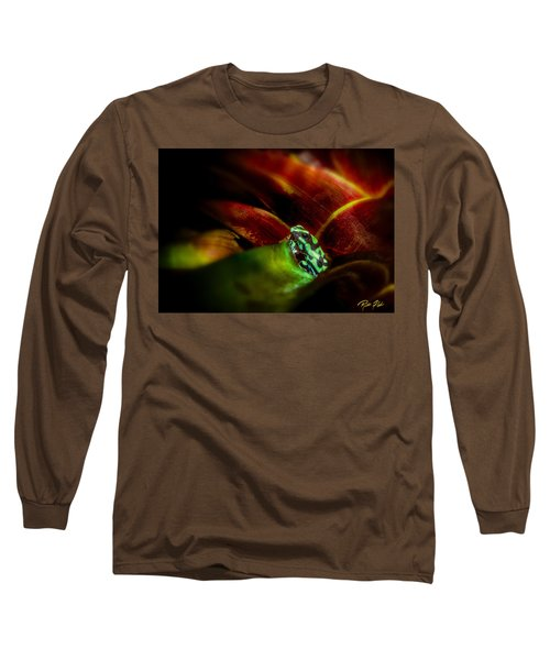 Long Sleeve T-Shirt featuring the photograph Black And Green Dart Frog In The Red Bromeliad by Rikk Flohr