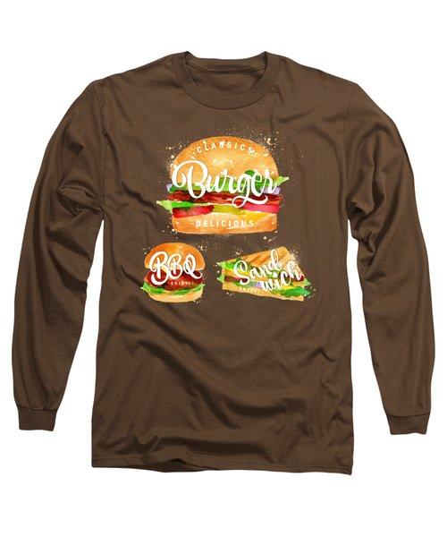 Black Burger Long Sleeve T-Shirt by Aloke Creative Store