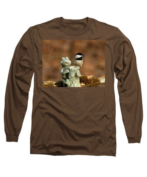Black-capped Chickadee And Frog Long Sleeve T-Shirt by Sheila Brown