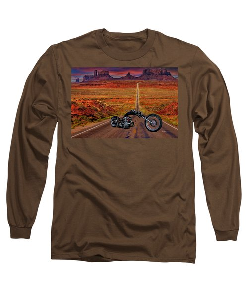 Black Chopper At Monument Valley Long Sleeve T-Shirt