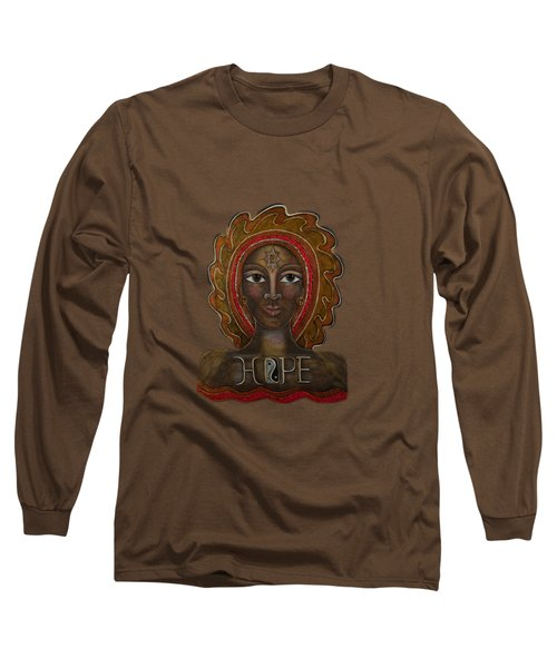 Long Sleeve T-Shirt featuring the painting Black Madonna - Hope by Deborha Kerr