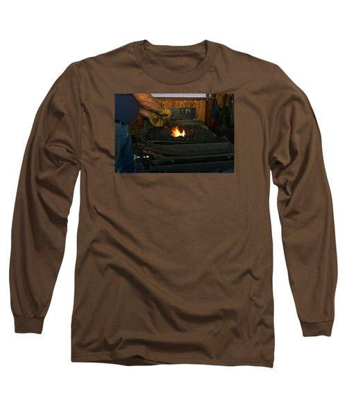 Blacksmith At Work Long Sleeve T-Shirt by Steven Clipperton
