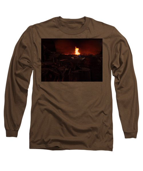 Long Sleeve T-Shirt featuring the digital art Blacksmith Shop by Chris Flees