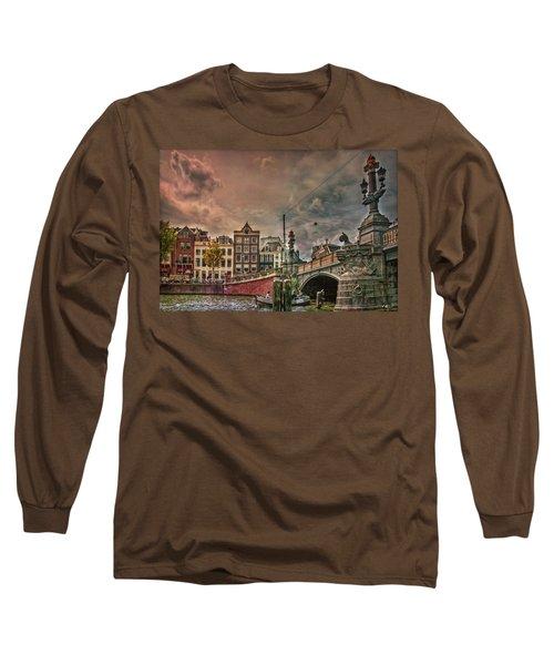 Long Sleeve T-Shirt featuring the photograph Blauwbrug -blue Bridge- by Hanny Heim
