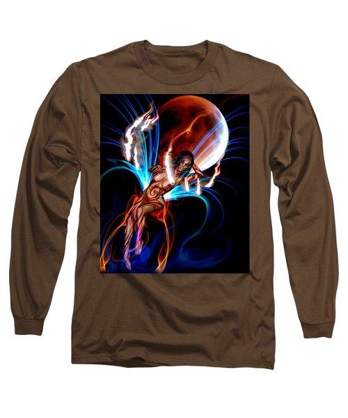Blazing Eclipse Long Sleeve T-Shirt by Glenn Feron