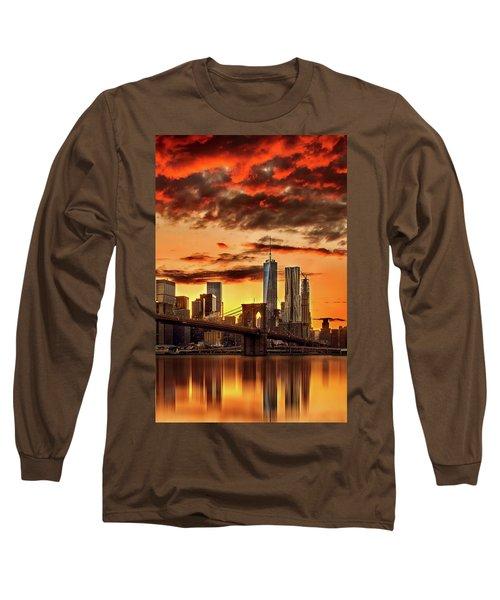 Blazing Manhattan Skyline Long Sleeve T-Shirt by Az Jackson