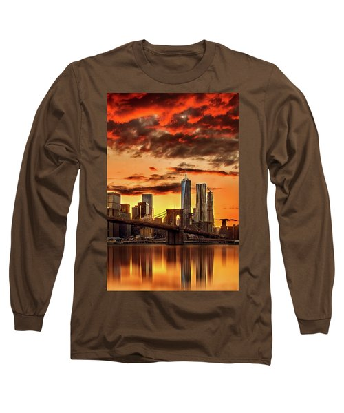 Blazing Manhattan Skyline Long Sleeve T-Shirt