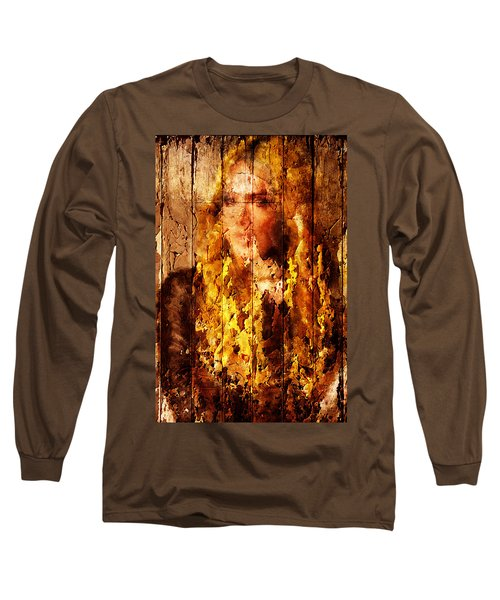 Long Sleeve T-Shirt featuring the digital art Blond Wood Inlay by Andrea Barbieri
