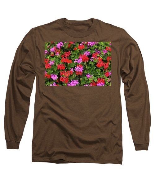 Blooming Flowers Background Long Sleeve T-Shirt by Hans Engbers