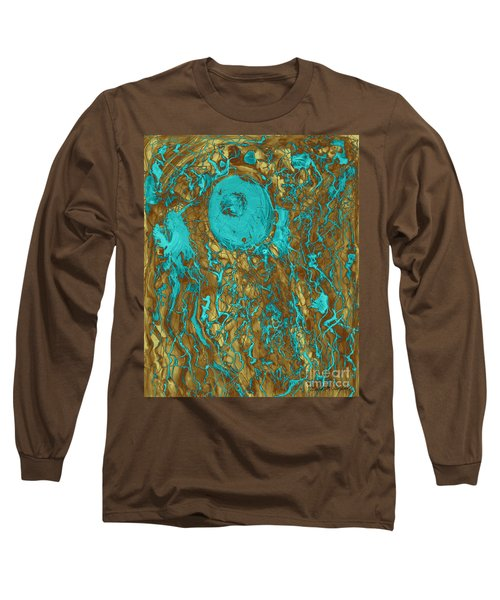 Blue And Gold Abstract Long Sleeve T-Shirt
