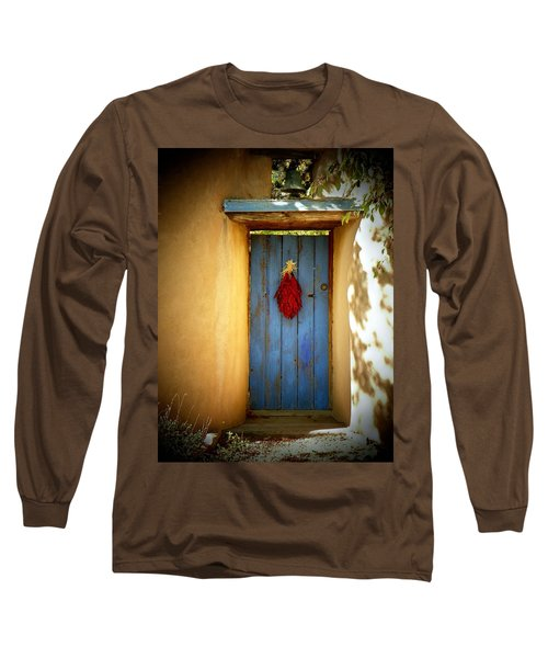 Blue Door With Chiles Long Sleeve T-Shirt by Joseph Frank Baraba