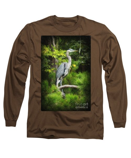 Blue Heron Long Sleeve T-Shirt by Lydia Holly
