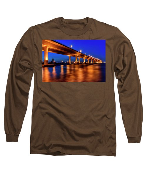 Blue Hour At Roosevelt Bridge In Stuart Florida  Long Sleeve T-Shirt by Justin Kelefas