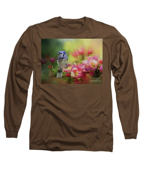 Blue Jay On A Blooming Tree Long Sleeve T-Shirt by Eva Lechner