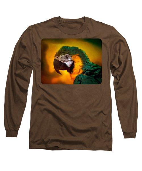 Blue Macaw Parrot Portrait Long Sleeve T-Shirt