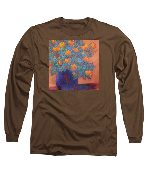 Long Sleeve T-Shirt featuring the painting Blue Vase by Nancy Jolley