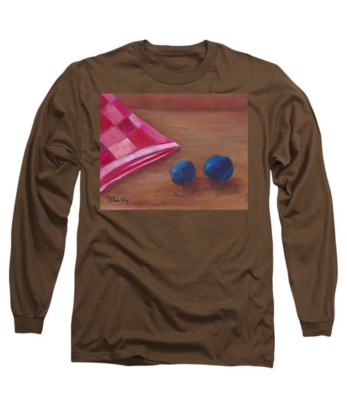 Blueberries With Red Napkin Long Sleeve T-Shirt by Patricia Cleasby