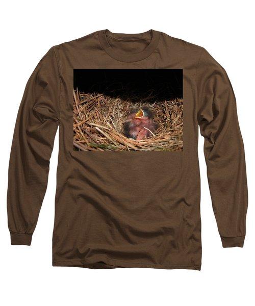 Long Sleeve T-Shirt featuring the photograph Bluebird Babies by Marie Hicks