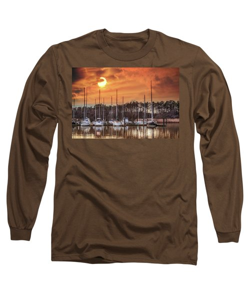Boat Marina On The Chesapeake Bay At Sunset Long Sleeve T-Shirt