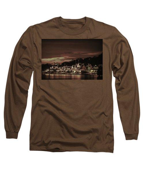 Boathouse Row Philadelphia Pa Night Retro Long Sleeve T-Shirt