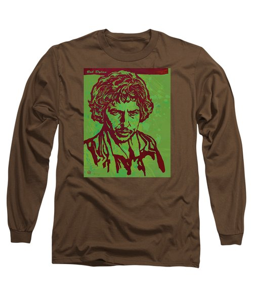 Bob Dylan Pop Art Poser Long Sleeve T-Shirt by Kim Wang